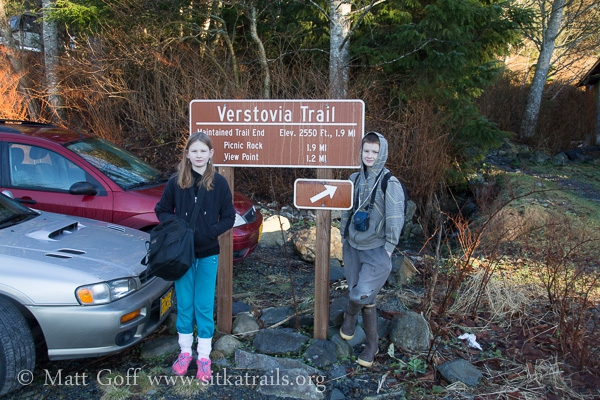 Connor and Rowan at the Mt. Verstovia Trailhead